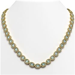 33.25 CTW Sky Topaz & Diamond Halo Necklace 10K Yellow Gold - REF-501M5H - 40432