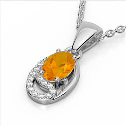1.25 CTW Citrine & Micro Pave VS/SI Diamond Necklace 10K White Gold - REF-18N9Y - 22347