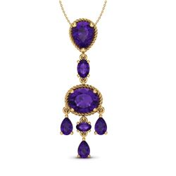 8 CTW Amethyst Necklace Designer Vintage 10K Yellow Gold - REF-34A4X - 20394