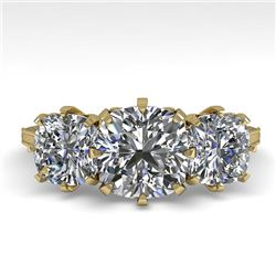 2 CTW Solitaire Past Present Future VS/SI Cushion Diamond Ring 18K Yellow Gold - REF-414T2M - 35788