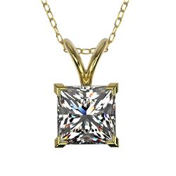 1 CTW Certified VS/SI Quality Princess Diamond Solitaire Necklace 10K Yellow Gold - REF-265K3W - 331