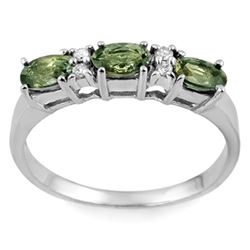 1.33 CTW Green Sapphire & Diamond Ring 10K White Gold - REF-21W8F - 11372