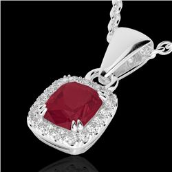 1.25 CTW Ruby & Micro Pave VS/SI Diamond Halo Necklace 10K White Gold - REF-30X4T - 22888