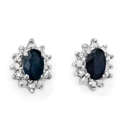 0.86 CTW Blue Sapphire & Diamond Earrings 10K Yellow Gold - REF-17Y8K - 12627