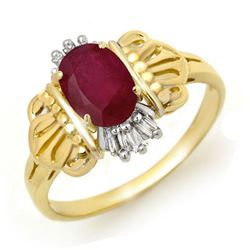 1.06 CTW Ruby & Diamond Ring 10K Yellow Gold - REF-19X3T - 12552