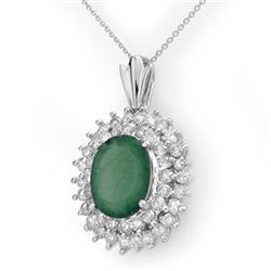 10.11 CTW Emerald & Diamond Pendant 18K White Gold - REF-272W8F - 14207