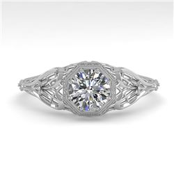 0.50 CTW VS/SI Diamond Solitaire Engagement Ring 18K White Gold - REF-104H8A - 36015