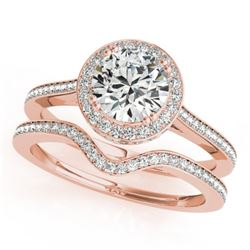 1.80 CTW Certified VS/SI Diamond 2Pc Wedding Set Solitaire Halo 14K Rose Gold - REF-422X2T - 30814
