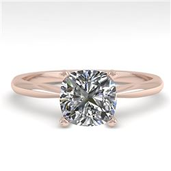 1 CTW Cushion Cut VS/SI Diamond Engagement Designer Ring 18K Rose Gold - REF-282H2A - 32423