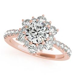 1.09 CTW Certified VS/SI Diamond Solitaire Halo Ring 18K Rose Gold - REF-142A2X - 26501
