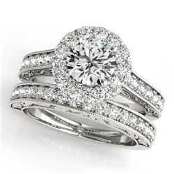 1.81 CTW Certified VS/SI Diamond 2Pc Wedding Set Solitaire Halo 14K White Gold - REF-247W6F - 30948