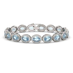 18.38 CTW Aquamarine & Diamond Halo Bracelet 10K White Gold - REF-320H9A - 40625