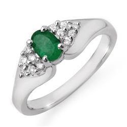 0.63 CTW Emerald & Diamond Ring 18K White Gold - REF-50W2F - 12539