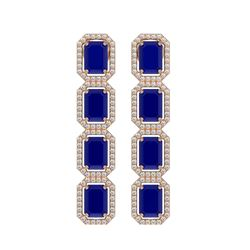 12.33 CTW Sapphire & Diamond Halo Earrings 10K Rose Gold - REF-158Y4K - 41433
