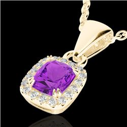 1.25 CTW Amethyst & Micro Pave VS/SI Diamond Halo Necklace 10K Yellow Gold - REF-28M8H - 22877