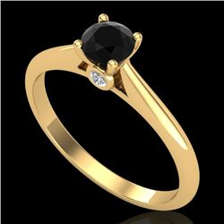 0.4 CTW Fancy Black Diamond Solitaire Engagement Art Deco Ring 18K Yellow Gold - REF-33Y6K - 38180