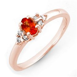 0.44 CTW Orange Sapphire & Diamond Ring 14K Rose Gold - REF-25A3X - 10558