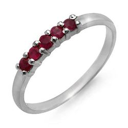 0.25 CTW Ruby Ring 10K White Gold - REF-9Y8K - 12635