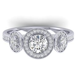 1.25 CTW Certified VS/SI Diamond Art Deco 3 Stone Micro Halo Ring 14K White Gold - REF-134W5F - 3036