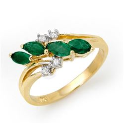 0.40 CTW Emerald & Diamond Ring 10K Yellow Gold - REF-22F5N - 13082