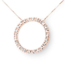 0.33 CTW Certified VS/SI Diamond Necklace 14K Rose Gold - REF-39K5W - 13809