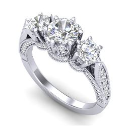 2.18 CTW VS/SI Diamond Art Deco 3 Stone Ring 18K White Gold - REF-296A4X - 37247