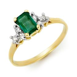 0.74 CTW Emerald & Diamond Ring 10K Yellow Gold - REF-16Y5K - 13761