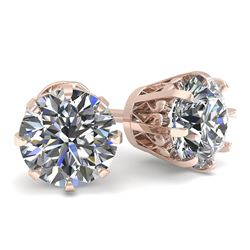 1.50 CTW VS/SI Diamond Stud Solitaire Earrings 18K Rose Gold - REF-262T5M - 35678