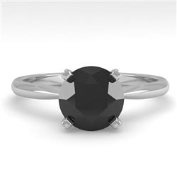 1.50 CTW Black Diamond Engagement Designer Ring 18K White Gold - REF-64W9F - 32439