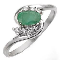 0.60 CTW Emerald & Diamond Ring 14K White Gold - REF-24X2T - 10002