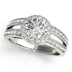 1.6 CTW Certified VS/SI Diamond Solitaire Halo Ring 18K White Gold - REF-415K3W - 26904