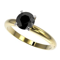 1.25 CTW Fancy Black VS Diamond Solitaire Engagement Ring 10K Yellow Gold - REF-39H5A - 32908