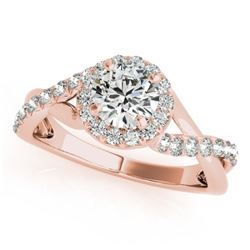 0.6 CTW Certified VS/SI Diamond Solitaire Halo Ring 18K Rose Gold - REF-78H2A - 26659