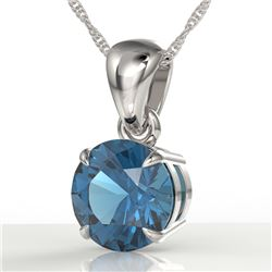 2 CTW London Blue Topaz Designer Inspired Solitaire Necklace 18K White Gold - REF-24M9H - 22029