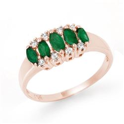 0.77 CTW Emerald & Diamond Ring 18K Rose Gold - REF-37M5H - 12393