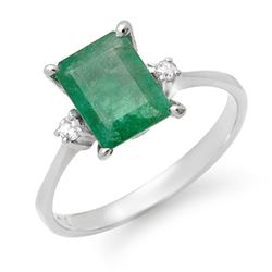 1.59 CTW Emerald & Diamond Ring 18K White Gold - REF-29N8Y - 13612