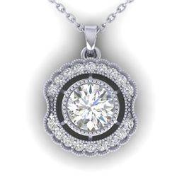 1.02 CTW Certified VS/SI Diamond Art Deco Necklace 14K White Gold - REF-177F3N - 30543