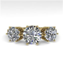 2 CTW Past Present Future Certified VS/SI Diamond Ring 18K Yellow Gold - REF-414F2N - 35911