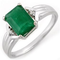 1.53 CTW Emerald & Diamond Ring 18K White Gold - REF-30M4H - 11058