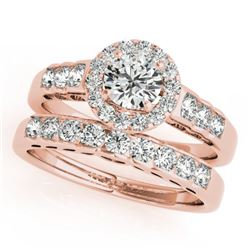 1.71 CTW Certified VS/SI Diamond 2Pc Wedding Set Solitaire Halo 14K Rose Gold - REF-234M5H - 31257