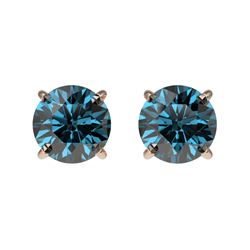 1 CTW Certified Intense Blue SI Diamond Solitaire Stud Earrings 10K Rose Gold - REF-87W2F - 33056