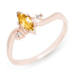 0.29 CTW Citrine & Diamond Ring 14K Rose Gold - REF-16X9T - 12346