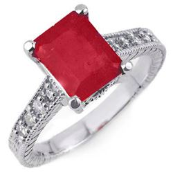 2.35 CTW Rubellite & Diamond Antique Ring 14K White Gold - REF-71W3F - 14197
