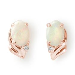 1.03 CTW Opal & Diamond Earrings 14K Rose Gold - REF-16N9Y - 12882