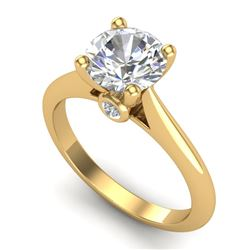 1.6 CTW VS/SI Diamond Art Deco Ring 18K Yellow Gold - REF-555T2M - 37294