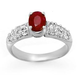 1.50 CTW Ruby & Diamond Ring 18K White Gold - REF-64X9T - 13369