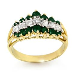 1.0 CTW Emerald & Diamond Ring 10K Yellow Gold - REF-27N8Y - 12542