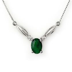 1.30 CTW Emerald & Diamond Necklace 10K White Gold - REF-20A2X - 11633