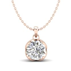 1.13 CTW VS/SI Diamond Solitaire Art Deco Stud Necklace 18K Rose Gold - REF-217X3T - 36864
