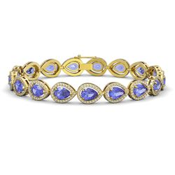 19.14 CTW Tanzanite & Diamond Halo Bracelet 10K Yellow Gold - REF-396X5T - 41101